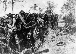 Confederate soldiers rake the field over which Union troops charged six times, from behind the stone walll at the Sunken Road, in  the blood Battle of Fredericksburg, Va., Dec. 1862.  Confederate Sgt. Richard Kirkland became known as the Angel of Marye's Heights when he brought water to wounded Union soldiers. (AP Photo)