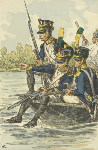Voltigeurs_of_a_French_Line_regiment_crossing_the_Danube_before_the_battle_of_Wagram