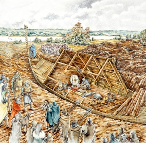 Sutton Hoo, Woodbridge, Suffolk.  Reconstruction drawing of the Sutton Hoo ship burial in 620 or 630 - by Peter Dunn (English Heritage Graphics Team).     Date: circa 620
