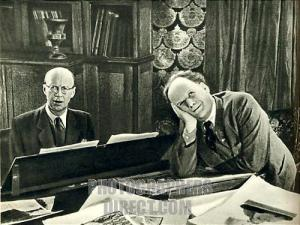 PROKOFIEV , Sergei - with Sergei Eisenstein ( film director ) at film studios , 1943 working on film Alexander Nevsky . Russian composer , 27 April 1891 - 5 March 1953 .