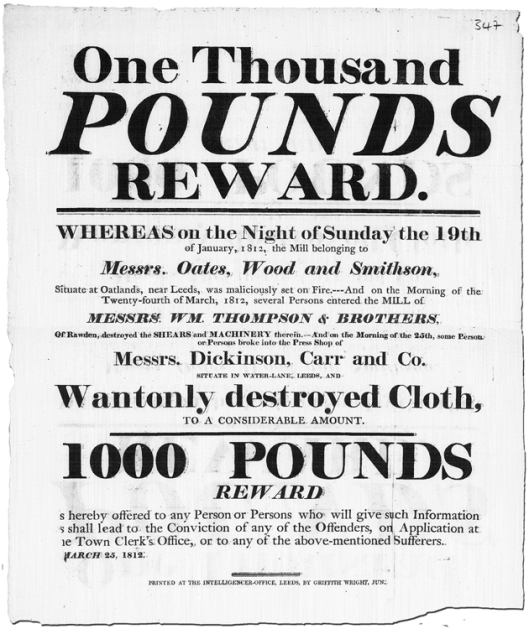 Oates Wood Smithson & Dickinson Carr reward poster, 25th March 1812