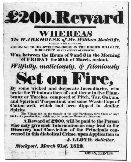 Radcliffe Arson Reward Poster, 21st March 1812 copy